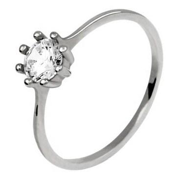 Pompeo White Zasnubni Prsten Z Bileho Zlata S Velkym Kamenem